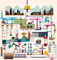 Set of factory infographics factory info graphics vector
