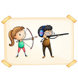 A frame with two people playing archery vector