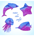 Watercolor sealife silhouettes set vector