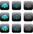 Square cloud computing app icons vector
