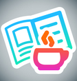 Cup and book label vector