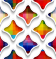 White wavy rectangles with rainbow on white vector