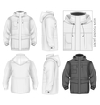 Men work hooded jacket vector