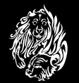 Tiger with lion silhouette design vector