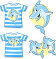 Kid shirt with cute dolphin vector