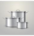 Three aluminum saucepans vector