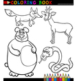 Cartoon wild animals for coloring book vector