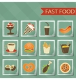 Flat design retro style fast food icons set on vector