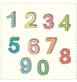 Set of hand drawn sketches numbers vector