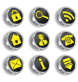 Metal web icon set vector