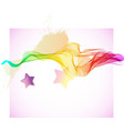 Abstract colorful wave with stars vector