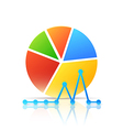 Colorful icon with diagram and graph vector