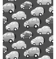 Texture with cute monochrome cartoon car with the vector