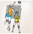 Girls playing volleyball sketch vector