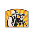 Surveyor engineer theodolite vector