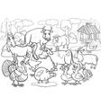 Farm animals cartoon for coloring book vector