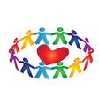 Teamwork people around a heart vector