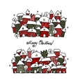 Christmas card with winter city sketch for your vector