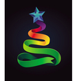Modern christmas card with tree made from ribbon vector