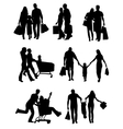 Family silhouettes shopping vector