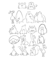 Black and white cartoon animals vector