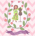 Cute romantic card with happy cartoon seamstress vector