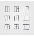Set of black silhouettes of windows isolated on vector