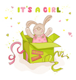 Baby bunny in a box - baby shower or arrival card vector