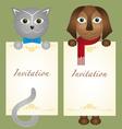 Invitation card cat kitten dog retro hipster vector