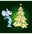 Cute happy mouse with cheese xmas tree vector