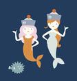Cute mermaids vector