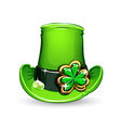 St patricks day emerald clover on hat vector