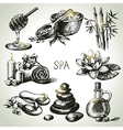 Spa sketch icon set vector