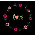Roses with dash line stalks flower frame love card vector