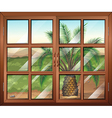 A window with a view of the palm plant outdoor vector