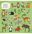 Forest animals hand-drawn vector