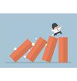 Business running on toppling domino vector