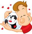Love football - sportsman hugging beloved ball vector