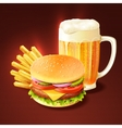 Hamburger and beer background vector