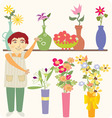 The flower vendor vector