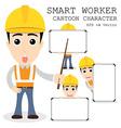 Smart worker cartoon character eps 10 vector