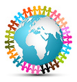 People holding hands around globe - earth vector