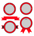 Red badge and label set with ribbon and stars vector
