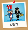 Usa travel polaroid people vector
