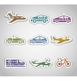 Flat retro color stickers - set one vector