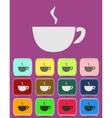 Cup mug of hot drink coffee tea etc vector