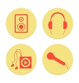 Flat musical icons set on white background vector