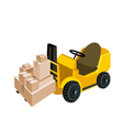 Forklift truck loading a stack of shipping box vector