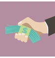 Flat design retro style icon business hand holding vector