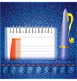 Pen and notepad on a jeans background vector